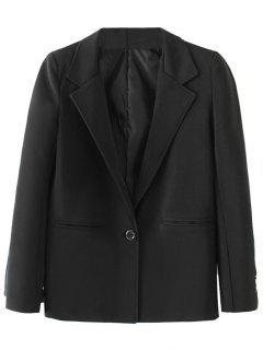 One Buttoned Back Slit Blazer - Black S
