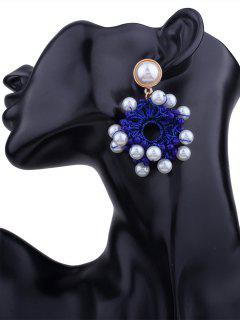 Faux Pearl Beaded Floral Round Earrings - Blue