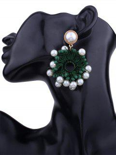 Faux Pearl Beaded Floral Round Earrings - Green