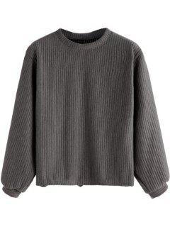 Lantern Sleeve Ribbed Sweatshirt - Deep Gray L