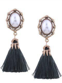 Vintage Faux Pearl Tassel Oval Earrings - Green