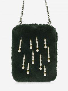 Faux Pearl Chain Crossbody Bag - Green