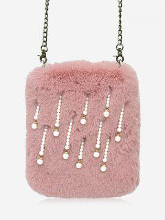 Faux Pearl Chain Crossbody Bag - Pink
