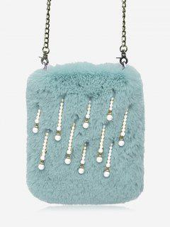 Faux Pearl Chain Crossbody Bag - Blue