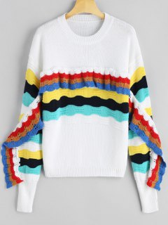 Frilled Color Block Crew Neck Sweater - White