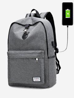 USB Charging Port Metal Backpack - Gray