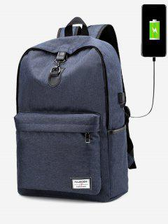 USB Charging Port Metal Backpack - Blue