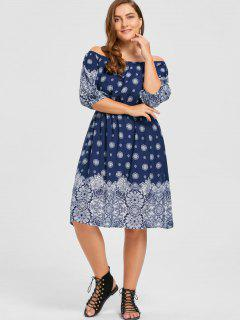Plus Size Floral Off The Shoulder Bohemian Dress - Purplish Blue 5xl
