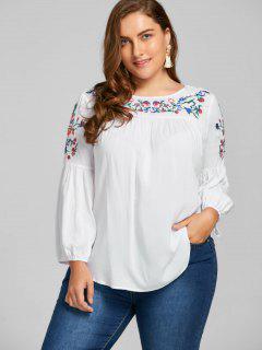 Plus Size Embroidery Lantern Sleeve Smock Blouse - White 3xl