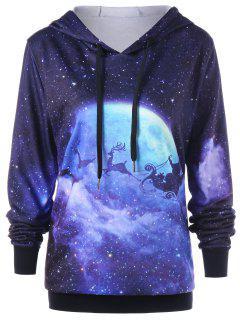Christmas Plus Size Galaxy Reindeer Hoodie - 3xl