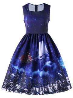 Christmas Square Neck Sleeveless 50s Swing Dress - Blue M