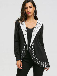 Music Notes Shawl Collar Curved Cardigan - Black M
