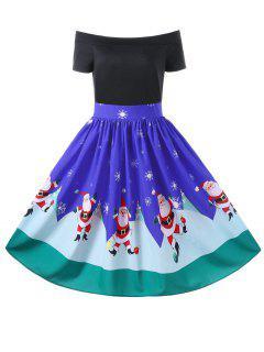 Christmas Off The Shoulder Swing Dress - Blue L