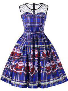 Christmas Santa Claus Sheer Swing Dress - Blue M