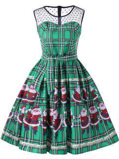 Christmas Santa Claus Sheer Swing Dress - Green 2xl