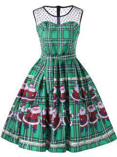 Christmas Santa Claus Sheer Swing Dress - Green L