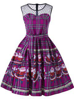 Christmas Santa Claus Sheer Swing Dress - Purple Xl