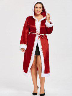 Christmas Plus Size Tie Belt Hooded Coat - Red 5xl