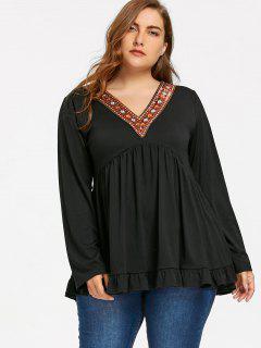 Plus Size Embellished V Neck Babydoll Top - Black Xl