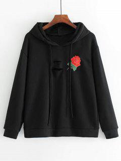 Distressed Rose Embroidered Hoodie - Black L