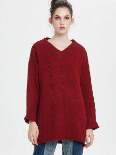 Suéter Largo Cuello En V Con Hombros Caídos - Rojo Oscuro
