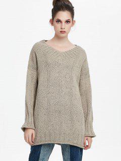 Langer Pullover Mit Drop Schulter Und  V-Ausschnitt  - Aprikose