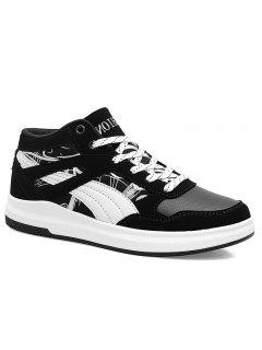 Colorblocked Embroidered Casual Sneakers - Black White 40