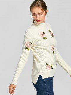 Side Slit Beaded Flower Appliques Sweater - Off-white