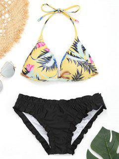 Push Up Leaf Print Ruffles Bikini - Black M