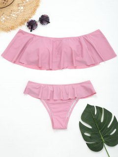 Ruffles Off The Shoulder Tiered Bikini - Pink S