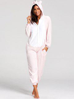 Pijama Rosado De Onesie Del Animal Del Cerdo - Rosa Xl