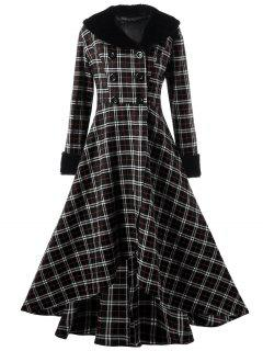 Plus Size Double Breasted Plaid Swing Coat - Black Xl