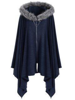 Asymmetric Faux Fur Panel Plus Size Cape Coat - Blue 5xl