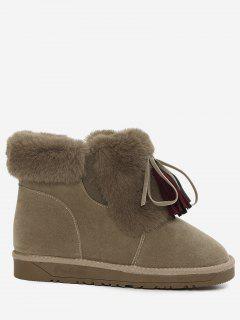 Bow Tassels Furry Snow Boots - Khaki 39
