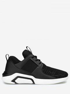 Elastic Vamp Low Top Athletic Shoes - Black 43