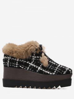 Pom Pom Plaid Faux Fur Platform Shoes - Black 35