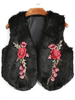 Flower Applique Faux Fur Waistcoat - Black L