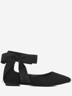 Bowknot Ribbon Point Toe Ankle Wrap Flats - Black 37