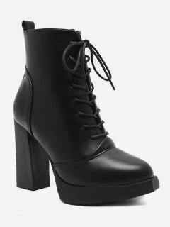 Chunky Heel Platform Lace Up Boots - Black 35