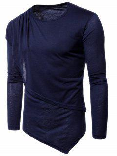 Panel Design Layered Long Sleeve Asymmetric Tee - Purplish Blue M