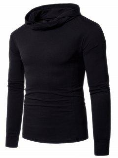 Long Sleeve Heaps Neck Hooded Tee - Black M