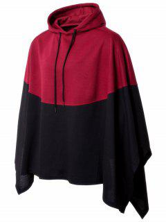 Two Tone Hooded Pullover Handkerchief Cape - Red M
