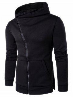 Asymmetrical Zip Up Side Split Hoodie - Black L