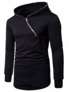 Asymmetrical Half Zip Up Long Hoodie - Black 2xl