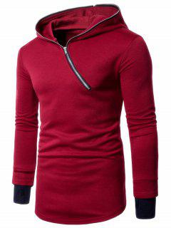 Asymmetrical Half Zip Up Long Hoodie - Red 2xl
