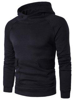 Raglan Sleeve Flap Pocket Hoodie - Black L