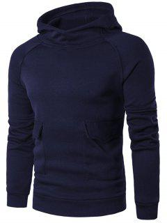Raglan Sleeve Flap Pocket Hoodie - Purplish Blue Xl