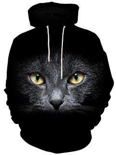 3D Cat Print Hoodie Men Clothes - Black 3xl