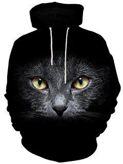 3D Cat Face Print Kangaroo Pocket Hoodie - Black M