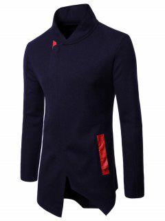 PU Panel Asymmetrical Zip Up Coat - Purplish Blue Xl